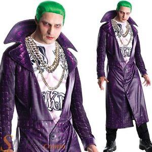 Deluxe Suicide Squad Joker Costume Mens Halloween Fancy Dress Jacket & Shirt