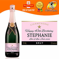 PERSONALISED PINK CHAMPAGNE BOTTLE LABEL BIRTHDAY WEDDING CHRISTMAS ANY OCCASION