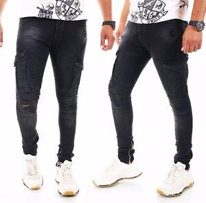 Hombre Vaqueros Slim Fit Hombre´S Wear Destroyed Cremallera Negro 29 30 31 32 33