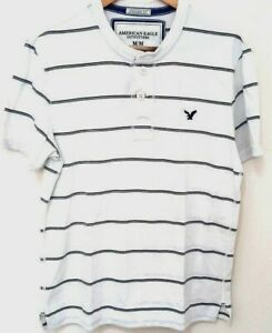 American Eagle Outfitters Mens White T Shirt M Striped Short Sleeve Vintage Fit