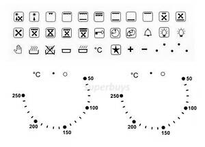 Combo 36pc Symbols & 50-250 Degree Oven Dial Switch Stove Cooktop Sticker Label
