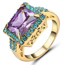 Size 8 Purple Amethyst &blue Crystal Women's 18K yellow Gold Filled Wedding Ring