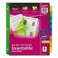 Avery Insertable Big Tab Plastic Dividers Withdouble Pockets 8 Tab 11 X 9 11907