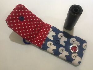 Handmade Doggy Poo Bag Holder Dispenser With Clip Bichon Frise Fabric