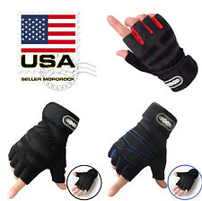 US Women/Men Gym Gloves With Wrist Wrap Workout Weight Lifting Fitness Exercise