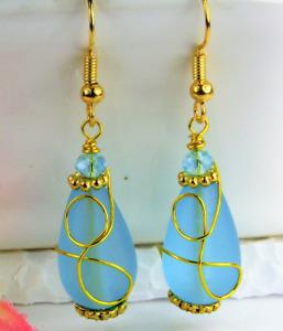 SEA GLASS Teardrop Caribbean Blue Loop Swirl GOLD Dangle Earrings USA MADE