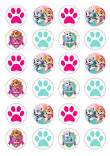 24 Paw Patrol Skye Everest Girls 4cm round cupcake cake edible images toppers