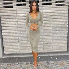 Sexy Women Bandage V-Neck Bodycon Long Sleeve Evening Party Cocktail Mini Dress