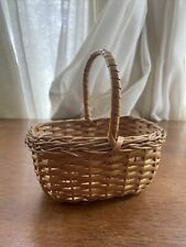"""Small Basket Handmade Woven Wicker with Handle 6.5"""" Crafted"""