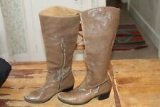 Fiorentini + Baker Brown Leather Zip Knee High Riding Fashion Boots Sz 37.5 EUR
