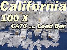 Lot 100 X Pcs CAT6 w Load Bar Insert RJ45 Network LAN Cable Modular Plug 8P8C