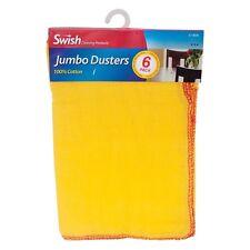 6x Gelb Jumbo Swish Groß Reine Baumwolle Polierend Tuch Sauber Staubtücher