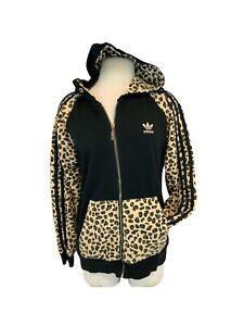 Adidas Hoodie Track Jacket XXL Women Black Tan Leopard Print Zip YGI J1-177