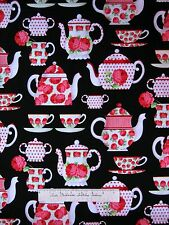 Tea Room Fabric - Pink Carnation Teapot Tea Cup Black - Michael Miller 1.63Yd
