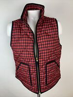 J.Crew Quilted Womens Sz M Red Buffalo Check Excursion Down Puffer Vest Pockets