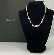 David Yurman 925 & 18K Gold South Sea Pearl And Diamond Necklace 16""