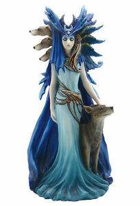 Hecate Hekate Triple Goddess with Hound & Wolf Voodoo Pagan Wiccan Statue Magick