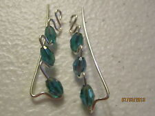 1 Pair Green AB Sterling Silver Filled Ear Vines, Sweeps, Pins Earrings  #4
