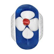 Lovelinks Bead Sterling Silver, Murano Glass Blue White Flowers Charm TM116