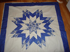 BLUE PORCELAIN STAR - Not Quilted, Made in the USA, Machine Pieced