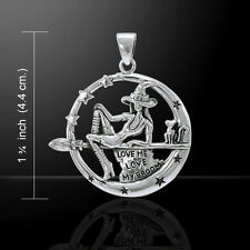 Salem Witch with Cat and Broom .925 Sterling Silver Pendant Peter Stone
