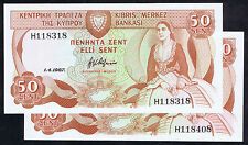 CYPRUS PRINT ERROR 50 CENTS NOTE of 1987 Pick # 52 with INK BLADE/JET FLAW SHOWN