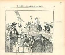 Costume Gardian à cheval & trident en Camargue Provence course de GRAVURE 1895