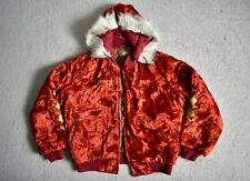 Vtg 80s KOREA Embroidered Red Velvet Hooded Souvenir Army Tour Jacket Unisex L
