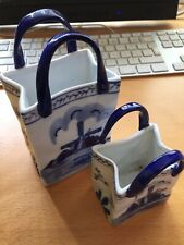 Vintage Rare Blue Bag Set of Two Hand Painted in Holland