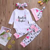 Newborn Baby Girl 4PCS Clothes Romper Tops Bowknot Pants Hat Headband Outfits