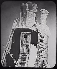 RARE Glass Magic Lantern Slide OBSERVATORY TOWER BEN NEVIS C1890 PHOTO SCOTLAND