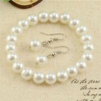 Frauen 1x Natürliche Süßwasser Perlenkette Armband-Ohrringe Schmuck! Set