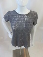 Marc By Marc Jacobs Gray Short Sleeve Lace Top Size S