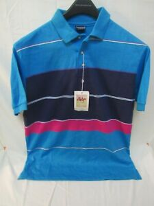 NWT Vintage Chesterfield Striped Polo Blue Mens Size L Made in USA Single Stitch