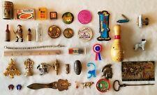 Vintage Junk Drawer Lot -  Mini Items, Wooden Objects, Pins, Bezanilla Milk Cap