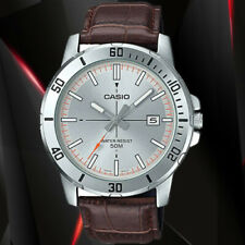 Casio MTP-VD01L-8EV Mens Silver Dial Analog Watch Brown Leather Band Date New