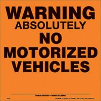"VOSS SIGNS ORANGE ALUNIMUM SIGN 11 1/4"" .012 GAUGE WARNING NO VEHICLES 188 AN OA"