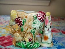 VINTAGE BUNNY SHAFFORD HAND DECORATED  CERAMIC COLLECTIBLE POSEY EASTER PLANTER