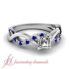.83 TCW. Asscher Cut Flawless Diamond & Round Blue Sapphire Engagement Ring