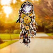 Wolf Picture Dream Catcher w/ Feathers Wall Hanging Decor Car Home Ornament