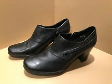 Clarks Black Leather Snap Strap Booties- Size 9
