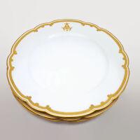Set of 3 Antique Le Rosey Rue de la Paix Gold Trimmed Porcelain Plates