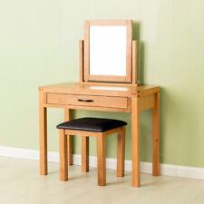 Abbey Oak Dressing Table Set / Modern Oak Table with Stool & Mirror / Solid Wood