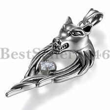 Mens Wolf Head Angel Wing Hug CZ Pendant Stainless Steel Chain Necklace 22""