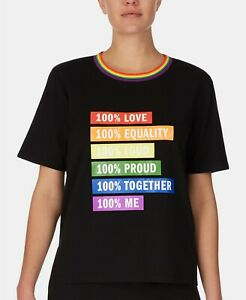 DKNY Shirt Black Rainbow Pride Graphic Short Sleeve Tee Equality Logo MEDIUM M