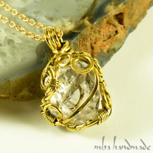 Prasiolite (Green Amethyst) Crystal Pendant Brass Wire Wrapped Artisan Jewelry