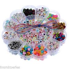 Enfant Kit Perles Lettre Etude Cordon Pr DIY Collier Bracelet Bijoux 15.5cm