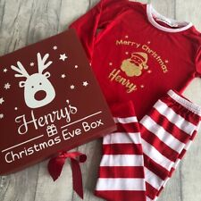 PERSONALISED CHRISTMAS GIFT SET, Red Large Ribbon Box Kids Striped PJs Keepsake