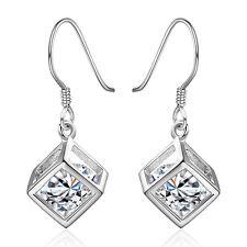 925 Damen Frauen Sterling Silber Strass Ohrringe Ohrschmuck Ohrhänger Kristall,;