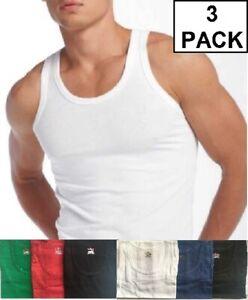 3X MENS VESTS  100% Cotton TANK TOP SUMMER TRAINING GYM TOPS PACK PLAIN